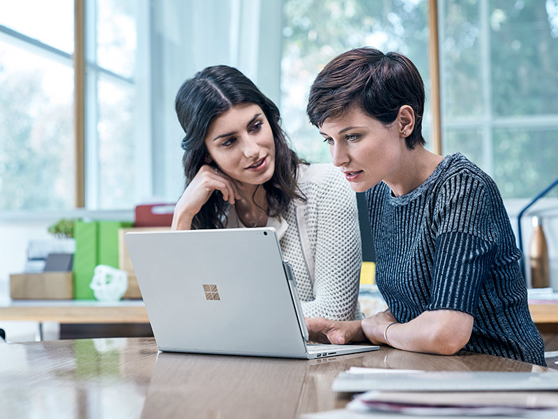 Two business women looking at a computer screen