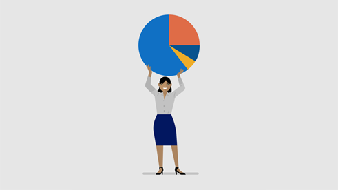 image of a woman holding a pie chart