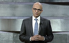 Microsoft CEO Satya Nadella giving the Cybersecurity keynote