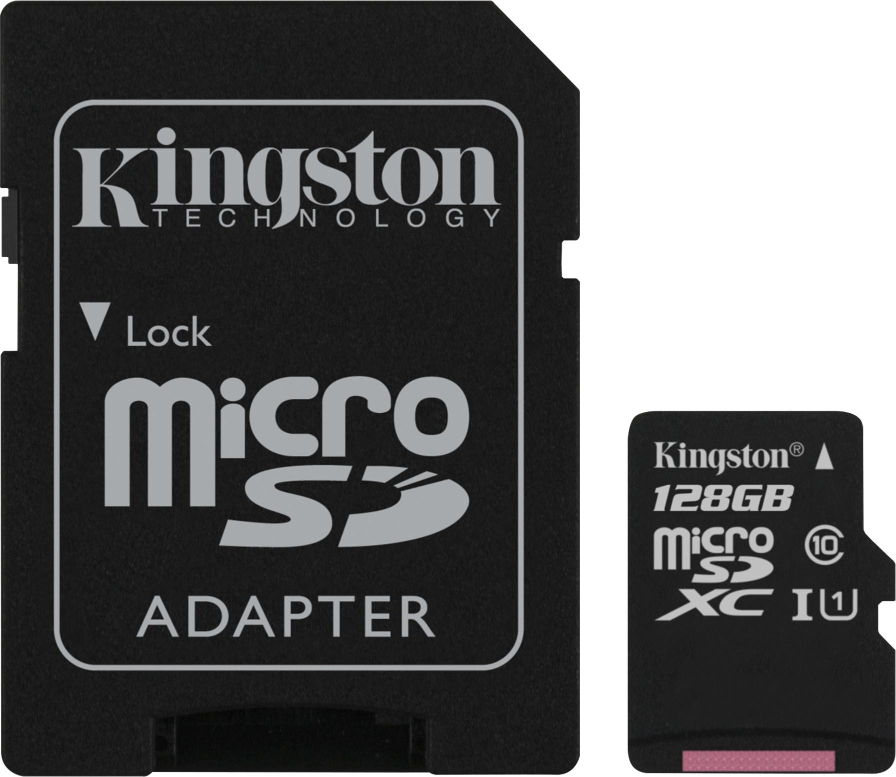 Kingston 128GB microSDXC Class 10 UHS-I 45MB/s Read Card + SD Adapter