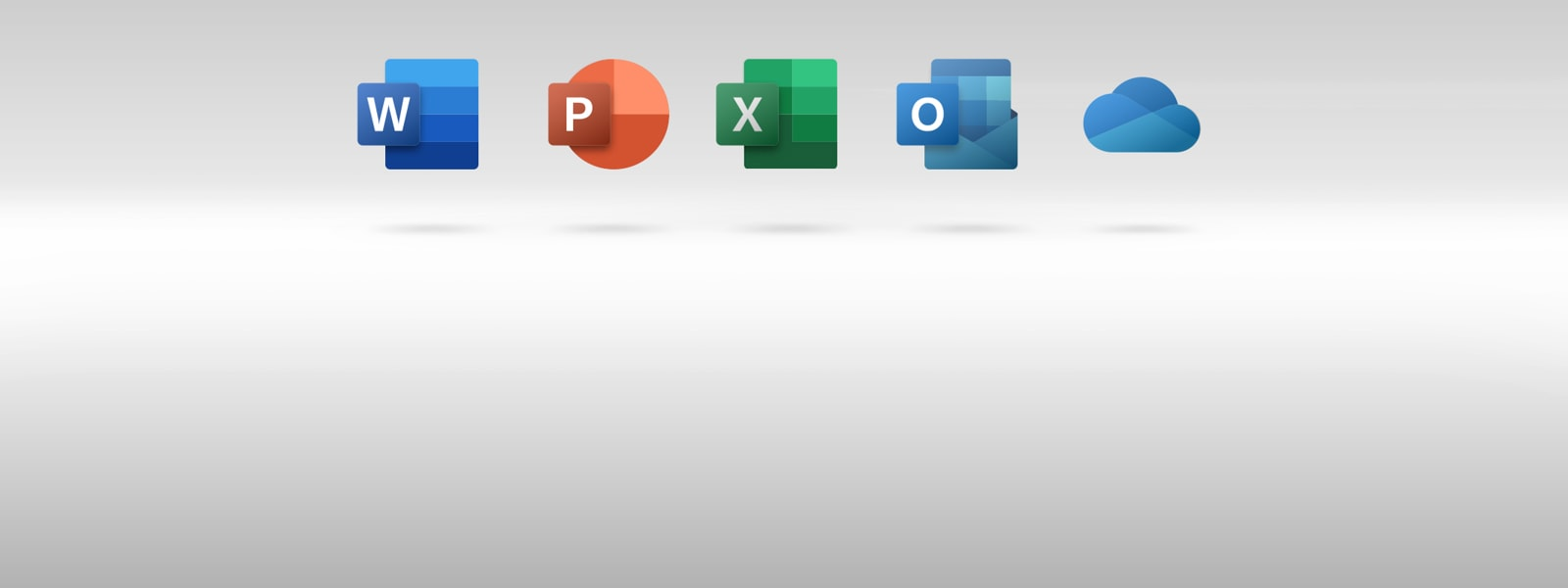 Icons for Microsoft Word, PowerPoint, Excel, Outlook, and OneDrive