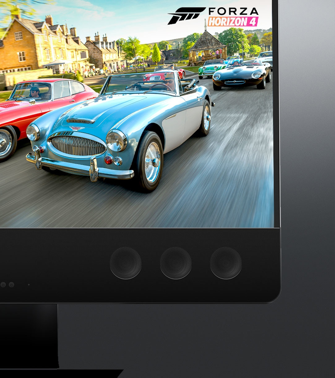 A Windows 10 All-in-One shows Forza Horizon 4 game with two cars racing