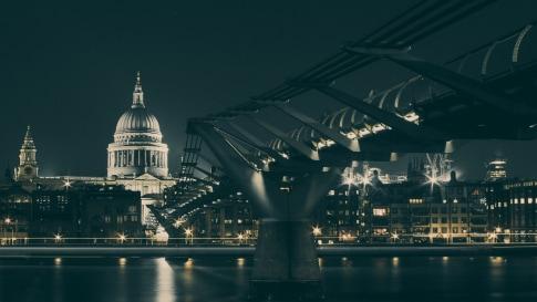 Capital building across a bridge