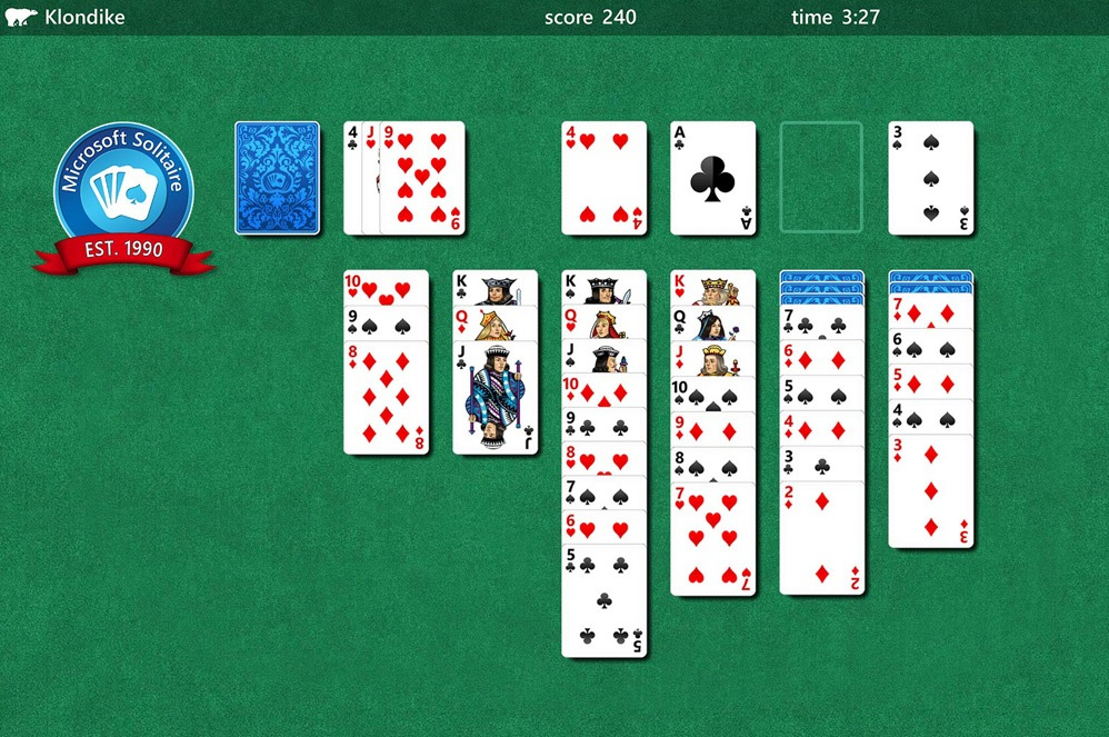 A solitaire game being played on a computer