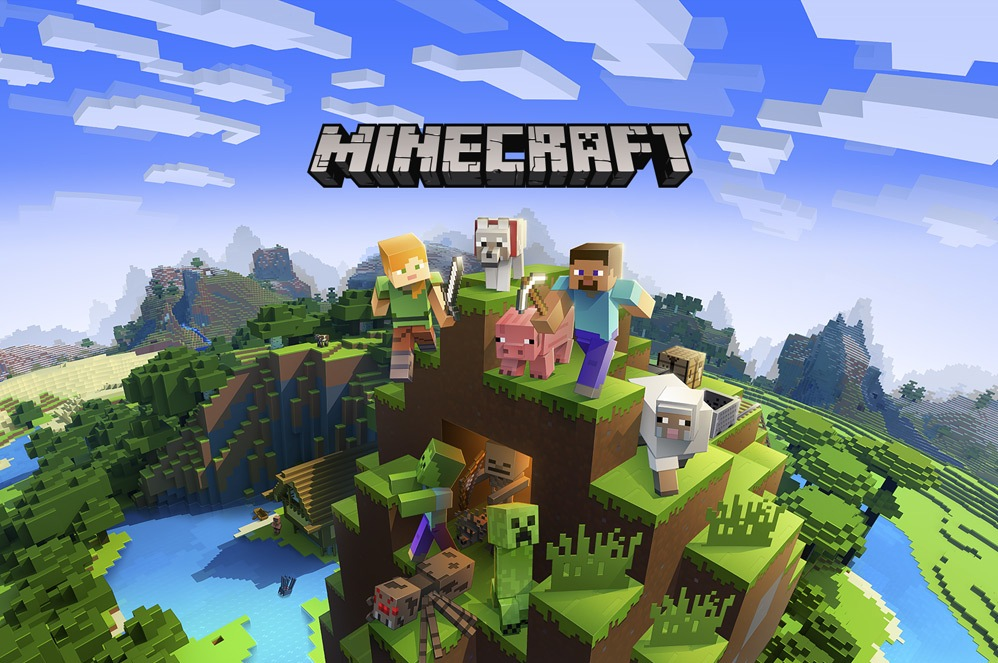 The characters of Minecraft sitting up on top of a mountain