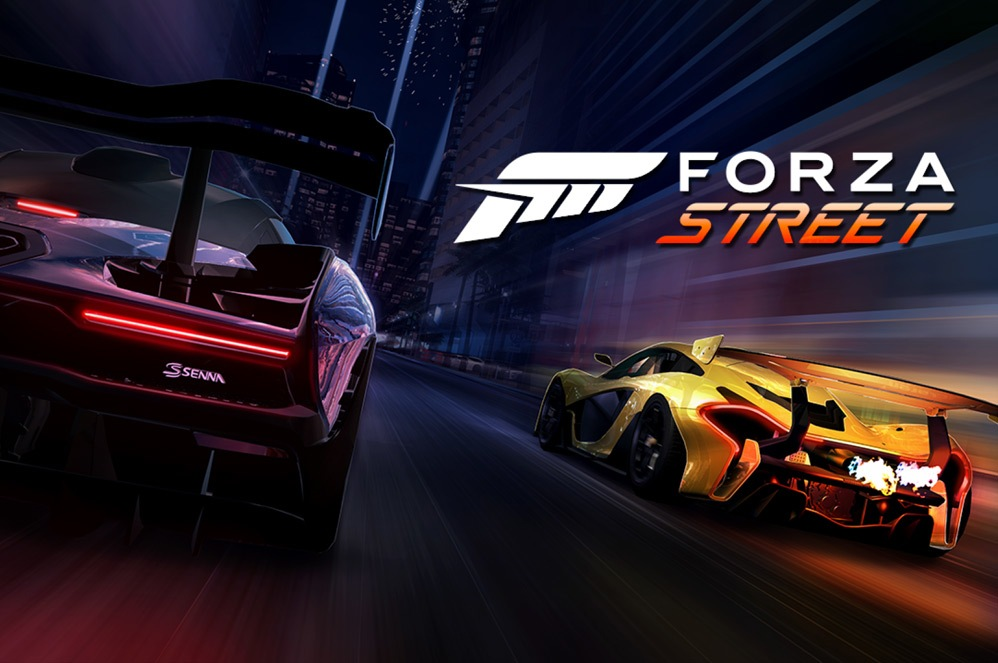 Two cars from Forza Street racing down a street