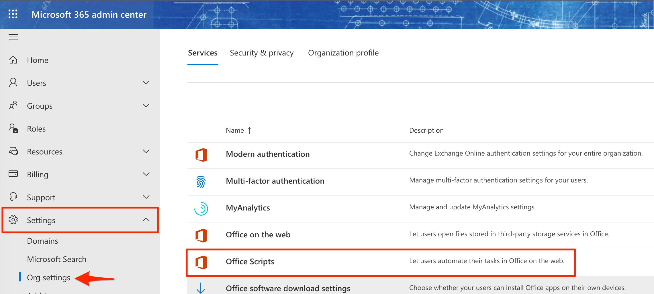 Office Scripts settings
