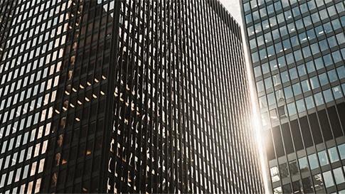 Tall black office buildings