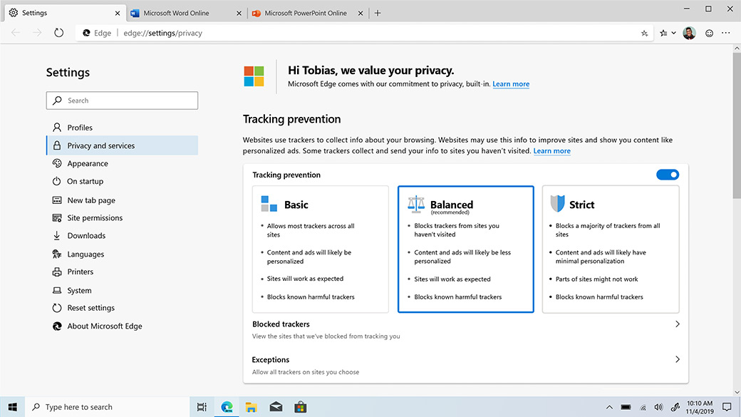 Privacy and Services tab within Settings