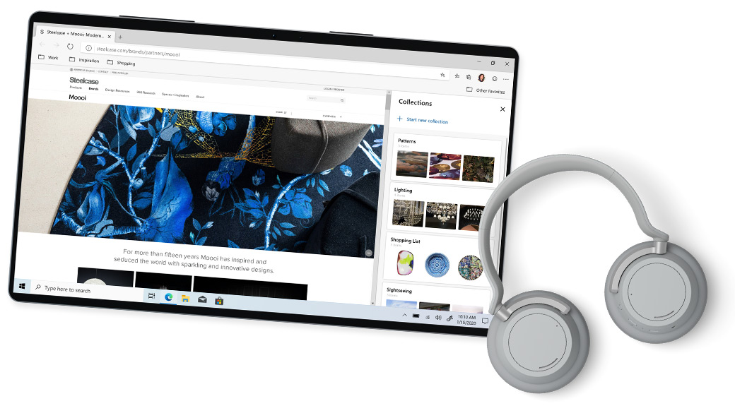 Device shown in tablet mode beside headphones accessory