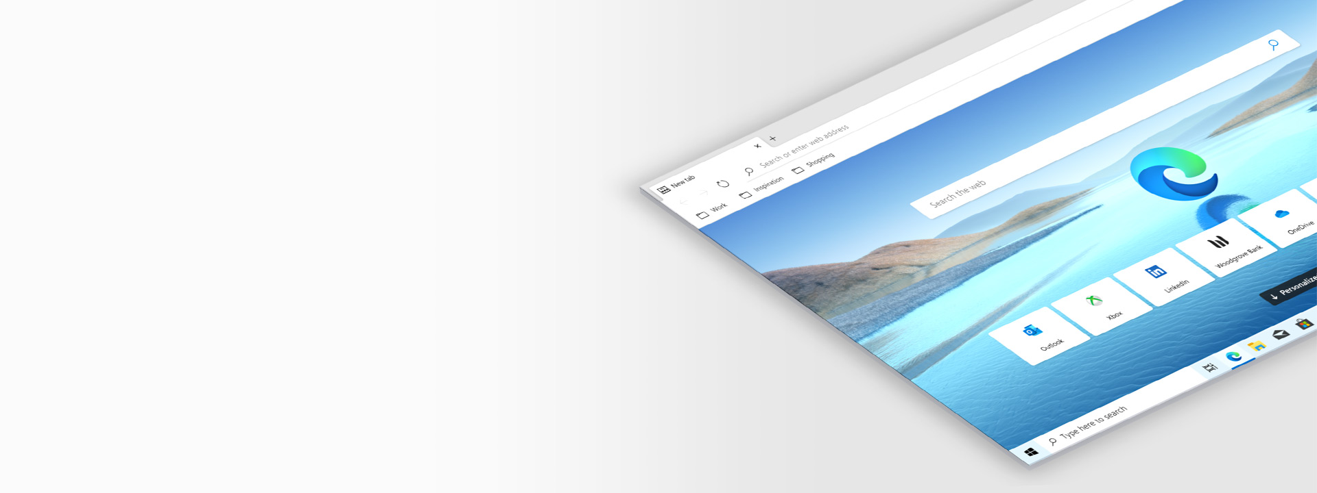 Image of a floating Microsoft Edge screen at an angle.