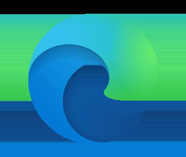 Microsoft Edge logo on a blue background.