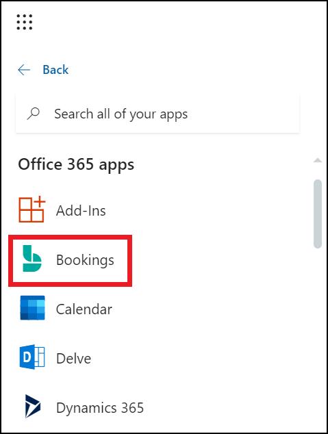 Bookings in app launcher