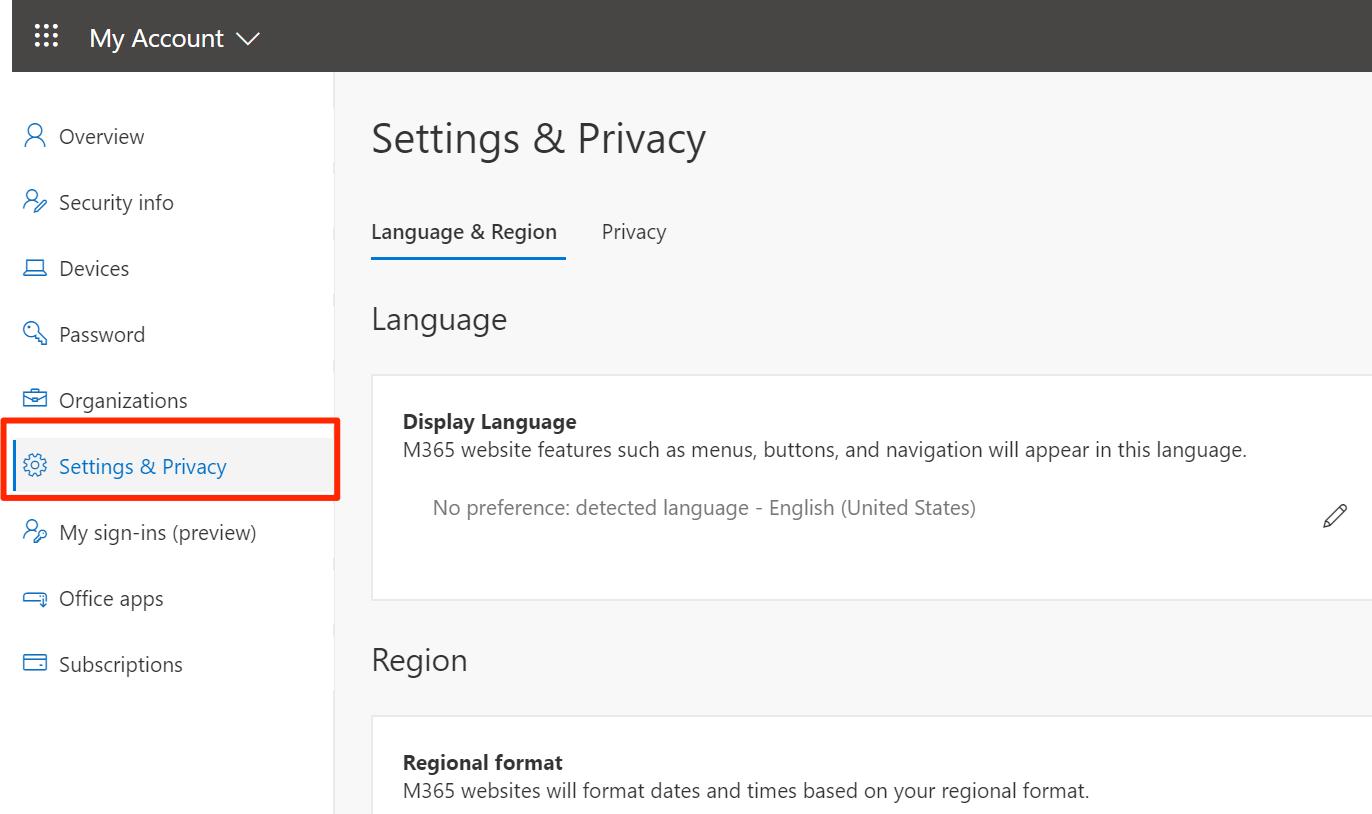 Language & Region settings in My Account