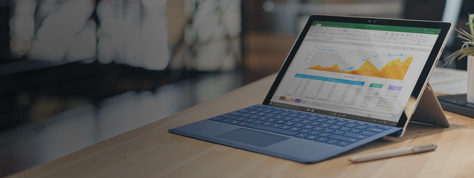 A Surface Pro 4 with keyboard and Surface Pen