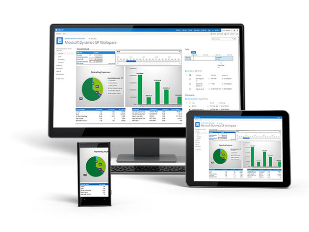 Product screenshot of Dynamics GP on a desktop, tablet and smartphone