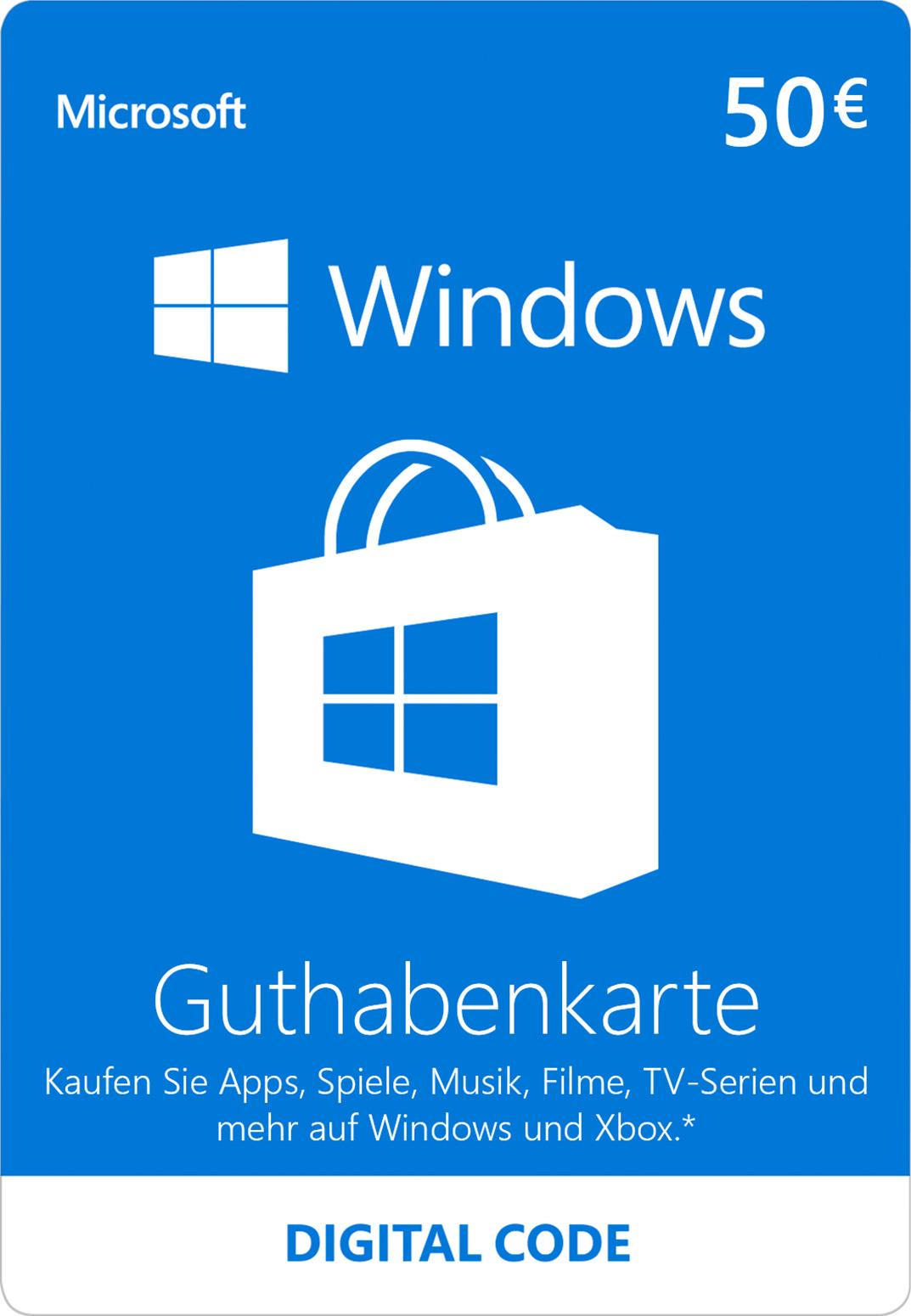 Windows Store digitale Geschenkkarte: 50,00 €