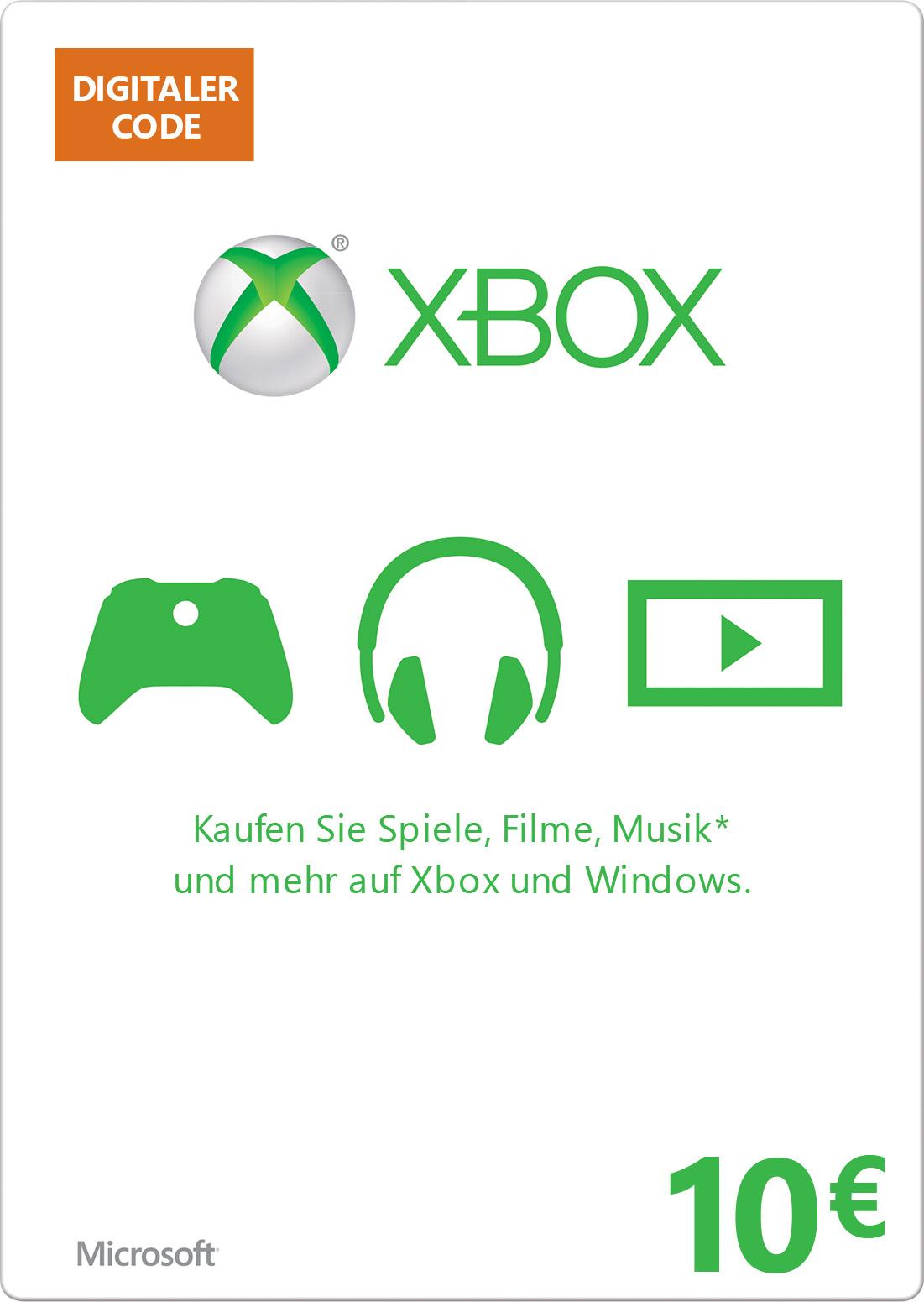 Xbox digitale Geschenkkarte: 10,00 €