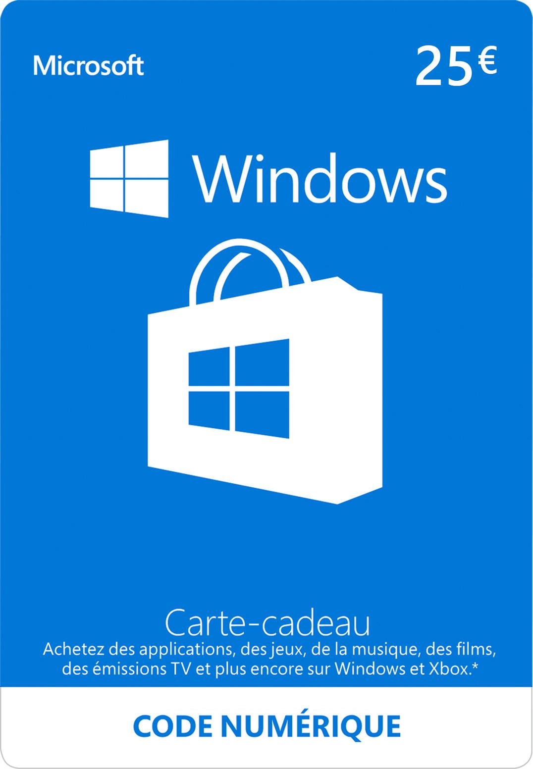Carte cadeau numérique Windows Store: 25,00 €