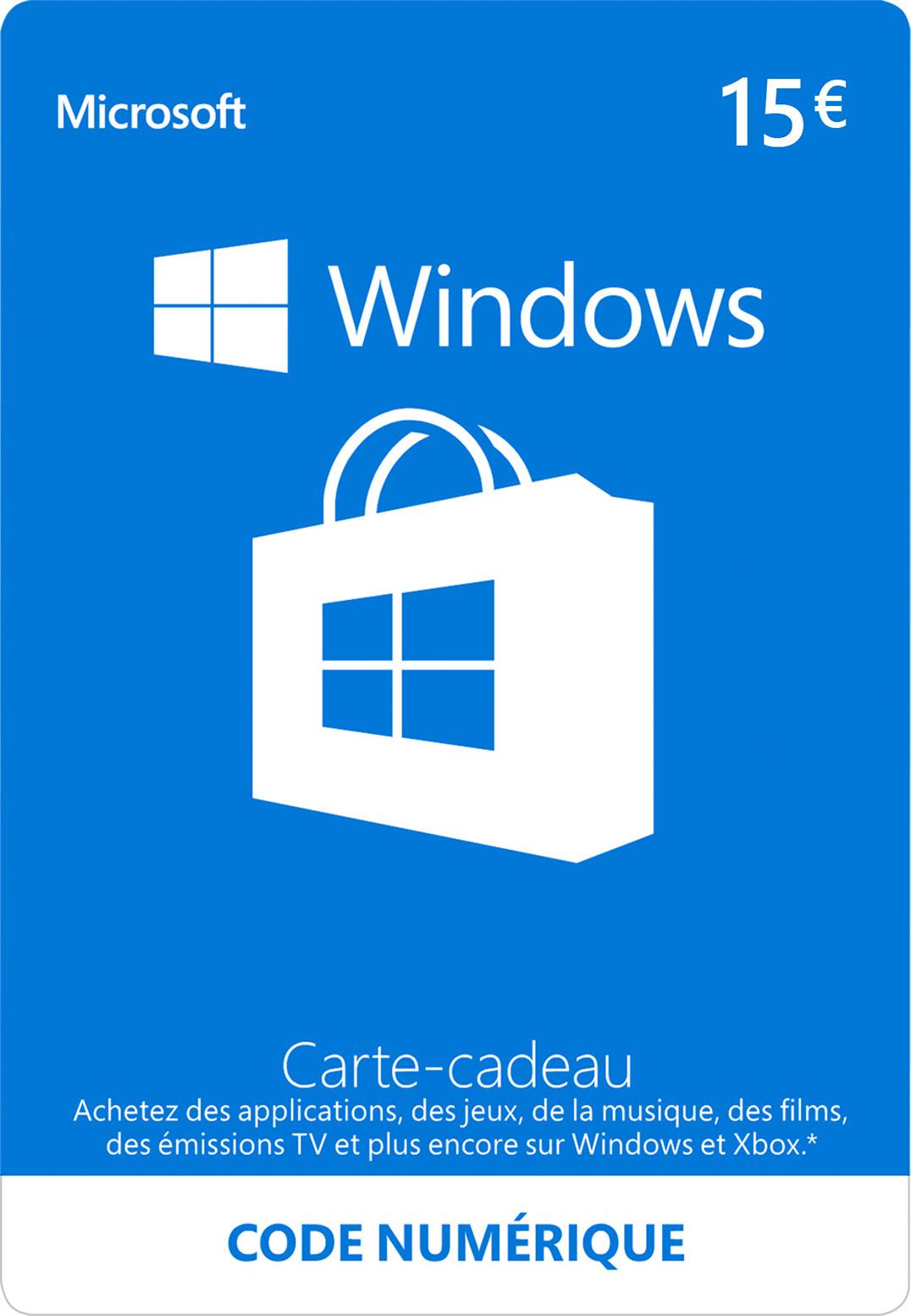 Carte cadeau numérique Windows Store: 15,00 €