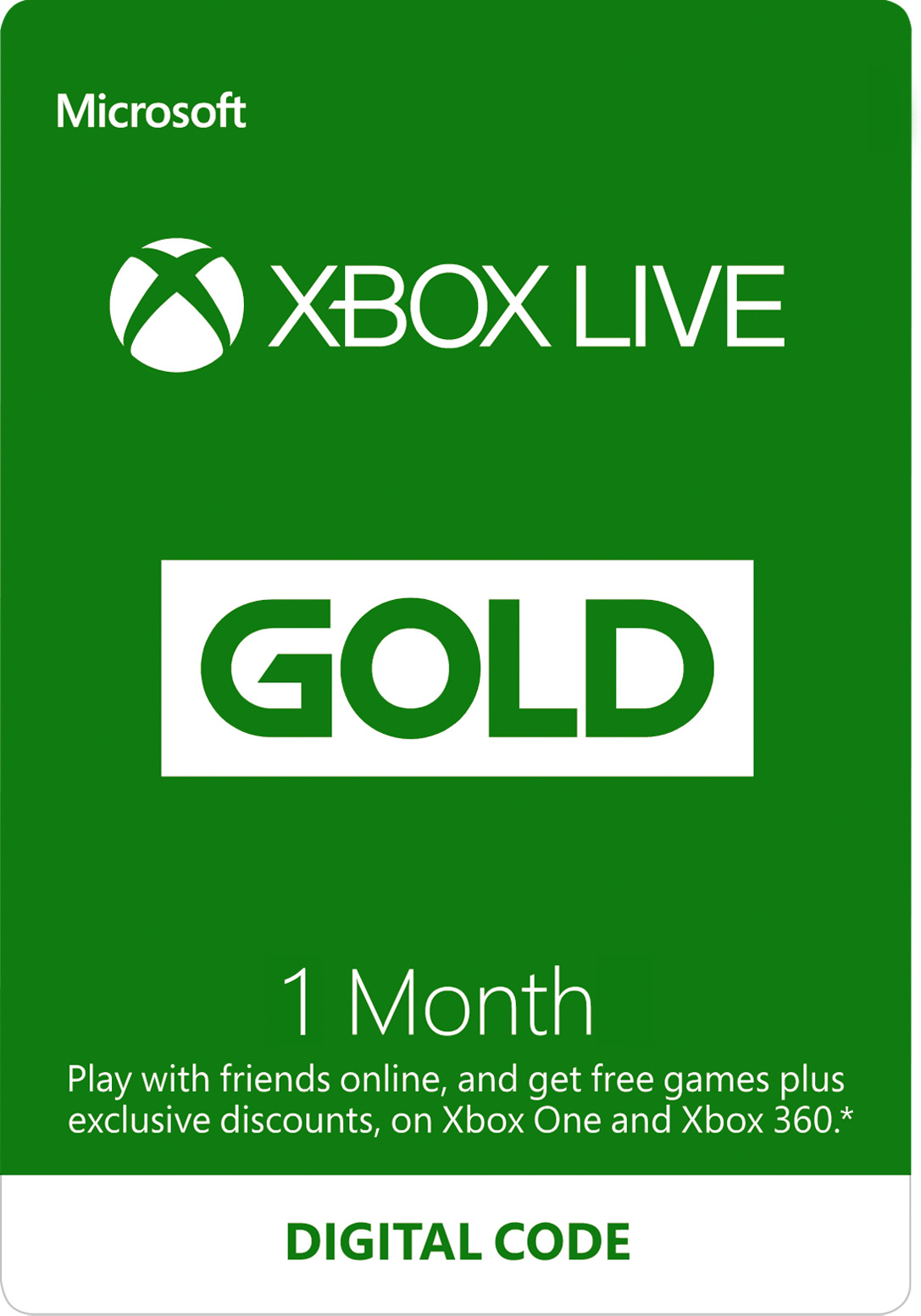 Xbox Live 1-Month Gold Membership (Digital Code)