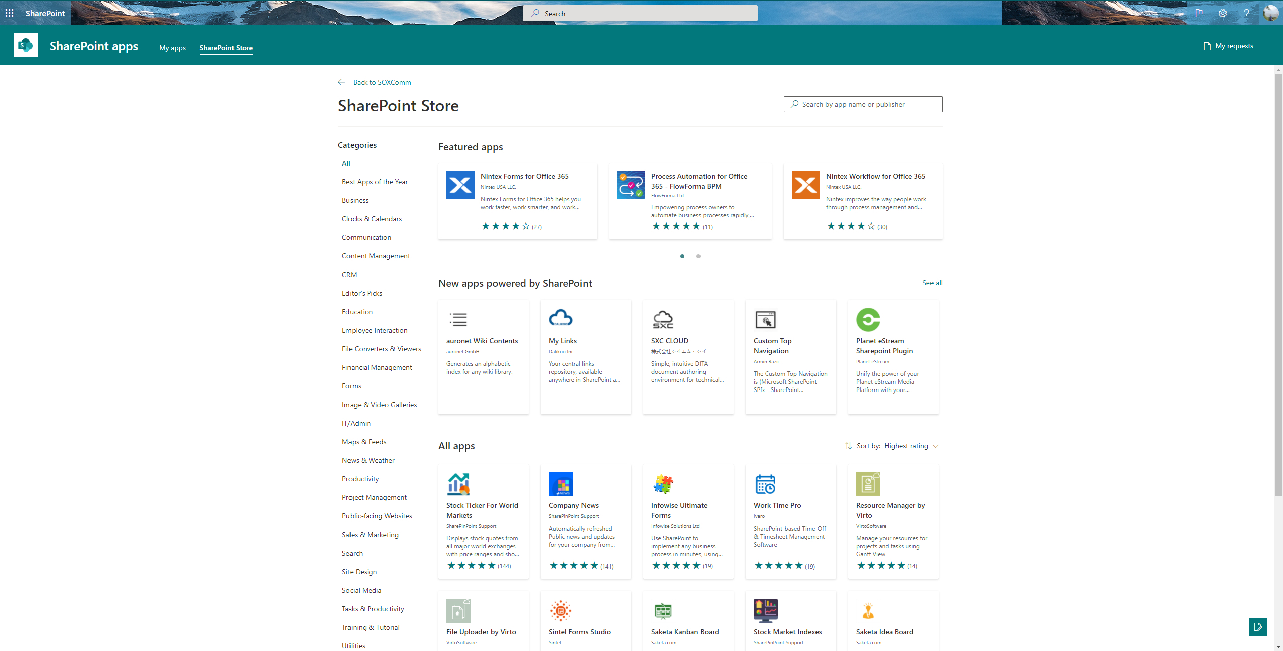 Store Home page