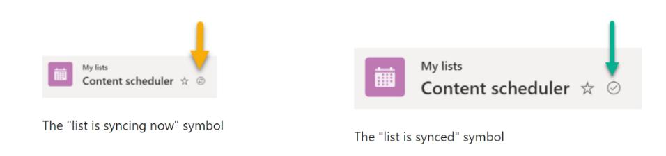 List syncing symbol