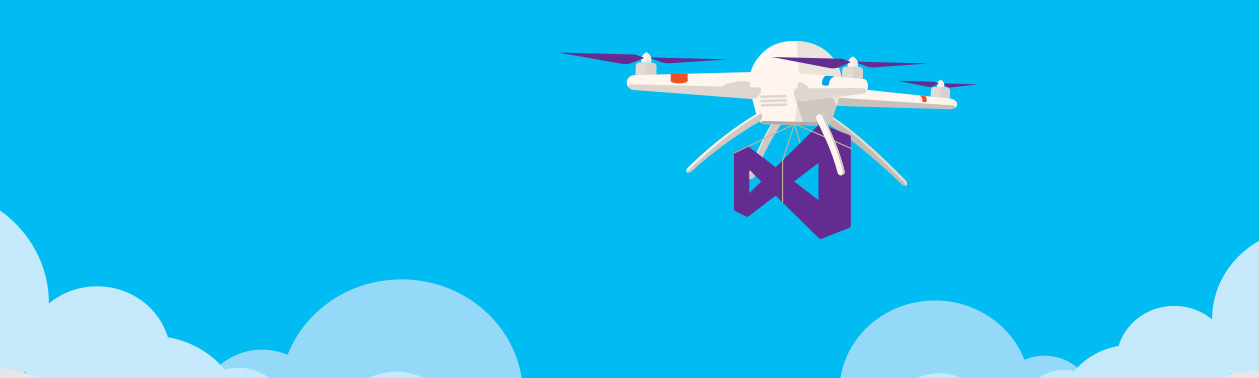 An illustration of a drone carrying a Visual Studio logo