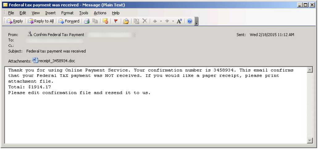 Macro Malware Windows Defender Security Intelligence - Invoice attached email example