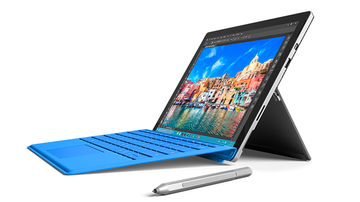 Surface Pro 4 with Blue Type Cover
