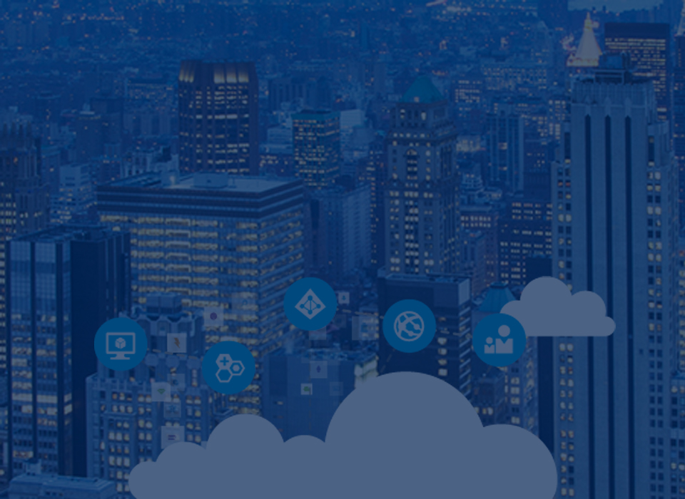 Big city buildings with computing icons and cloud.