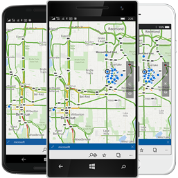Smartphones with maps.