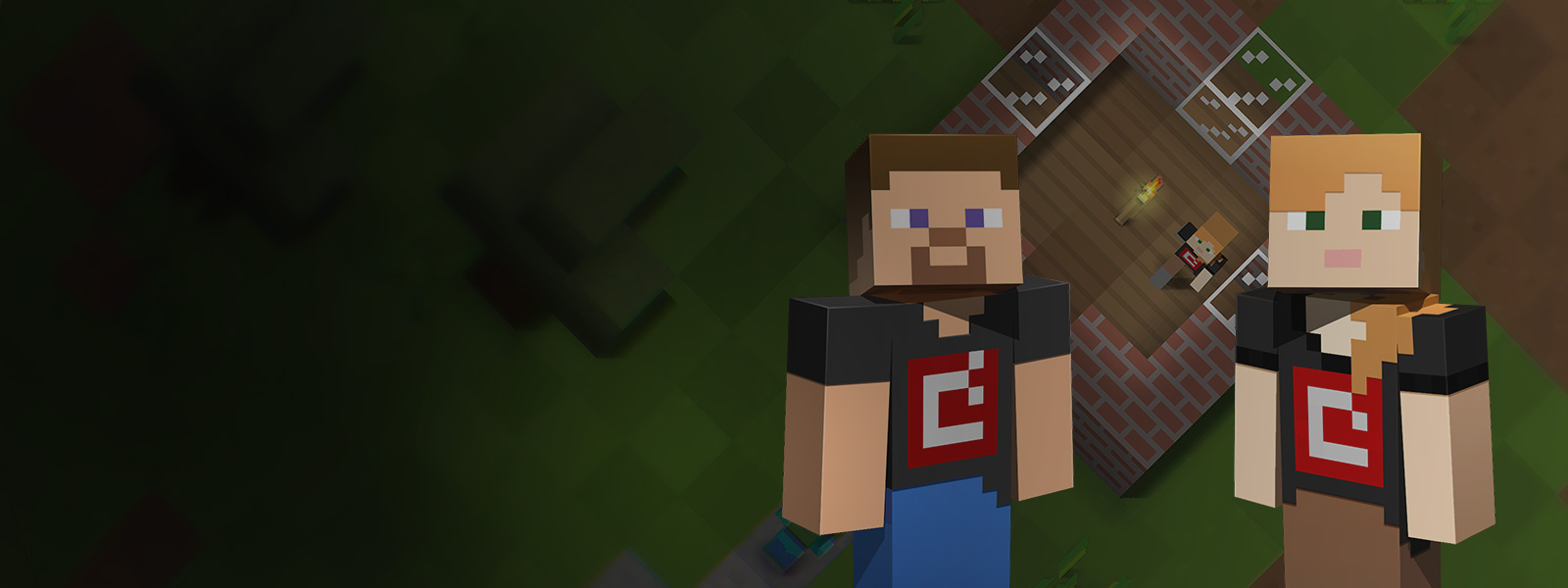 Two Minecraft game characters