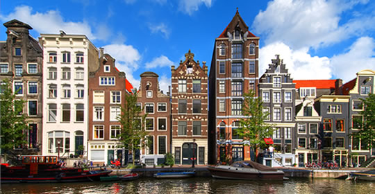 Amsterdam canal row houses