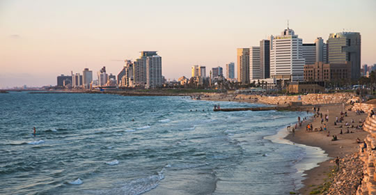 Tel Aviv skyline with view of beach