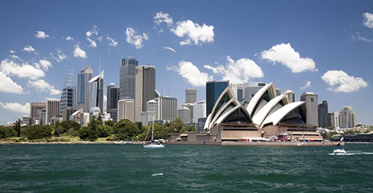 Sydney city skyline with view of opera house