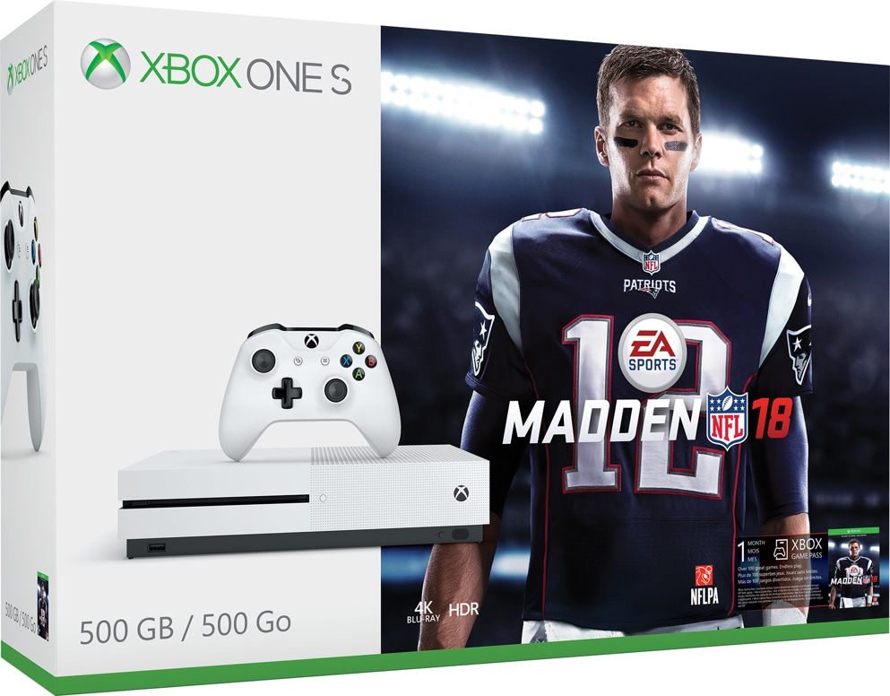 Xbox One S Madden Edition, in box with white Xbox One S console, matching controller, and image of New England Patriots player Tom Brady