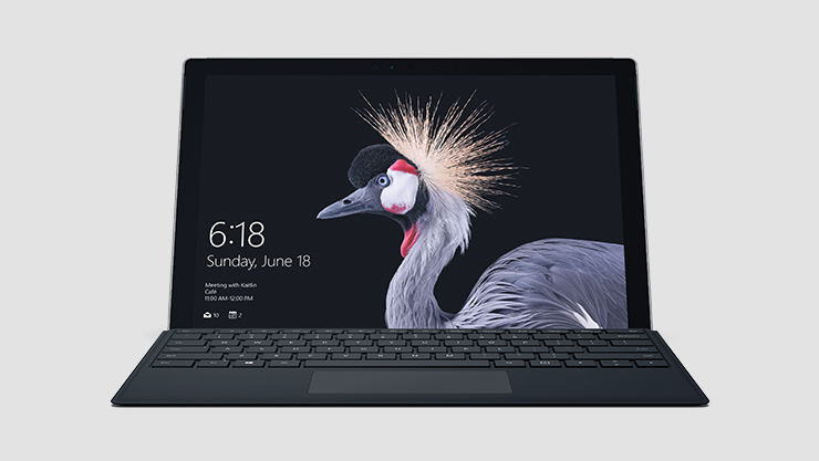 Surface Laptop seen head on with lid up and picture of exotic bird on the lockscreen