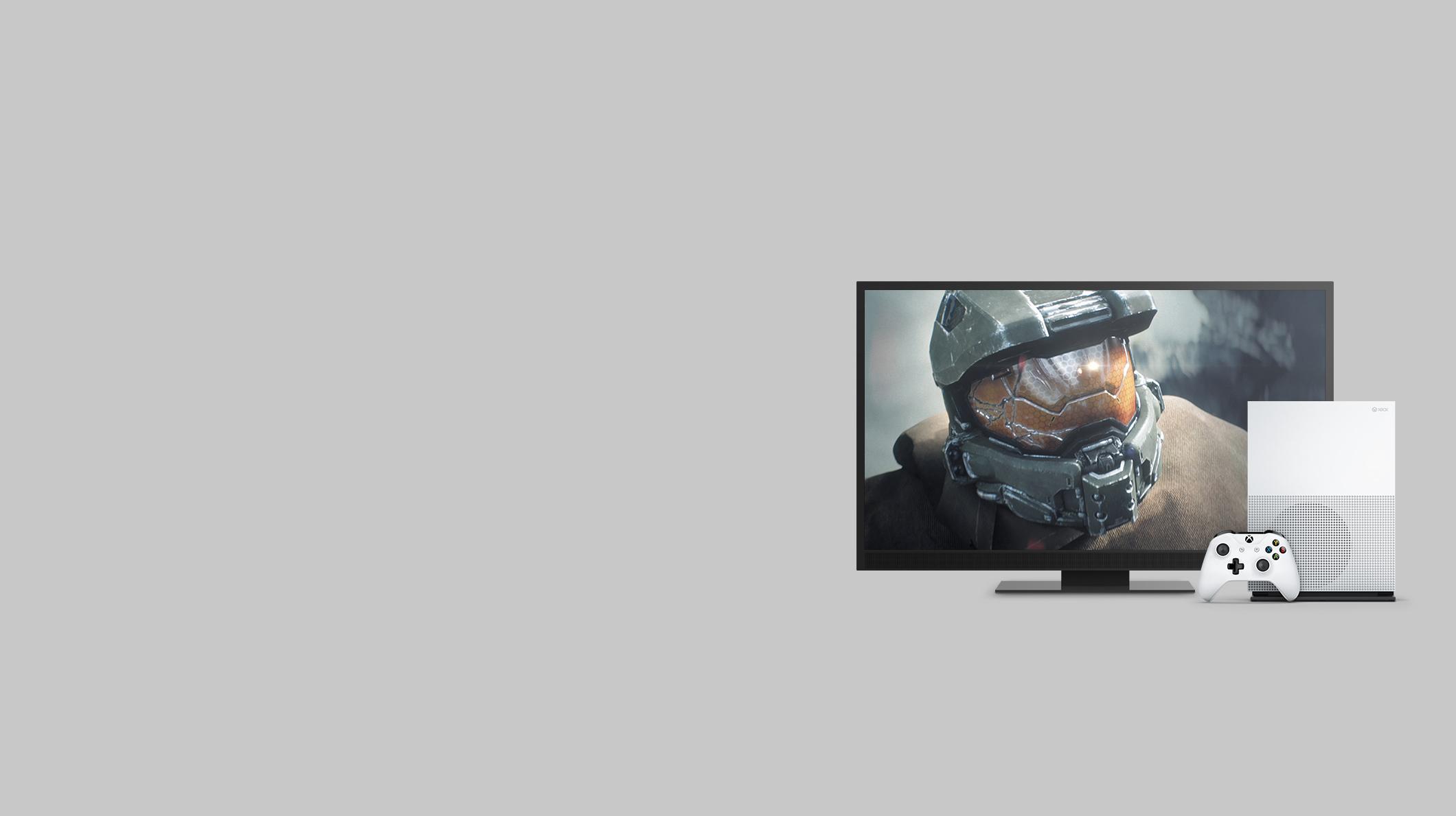 Eine Xbox One S Konsole mit Controller und ein großer Bildschirm, der ein Actionvideo zeigt