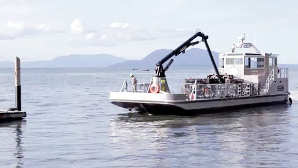 An oyster boat owned by Taylor Shellfish