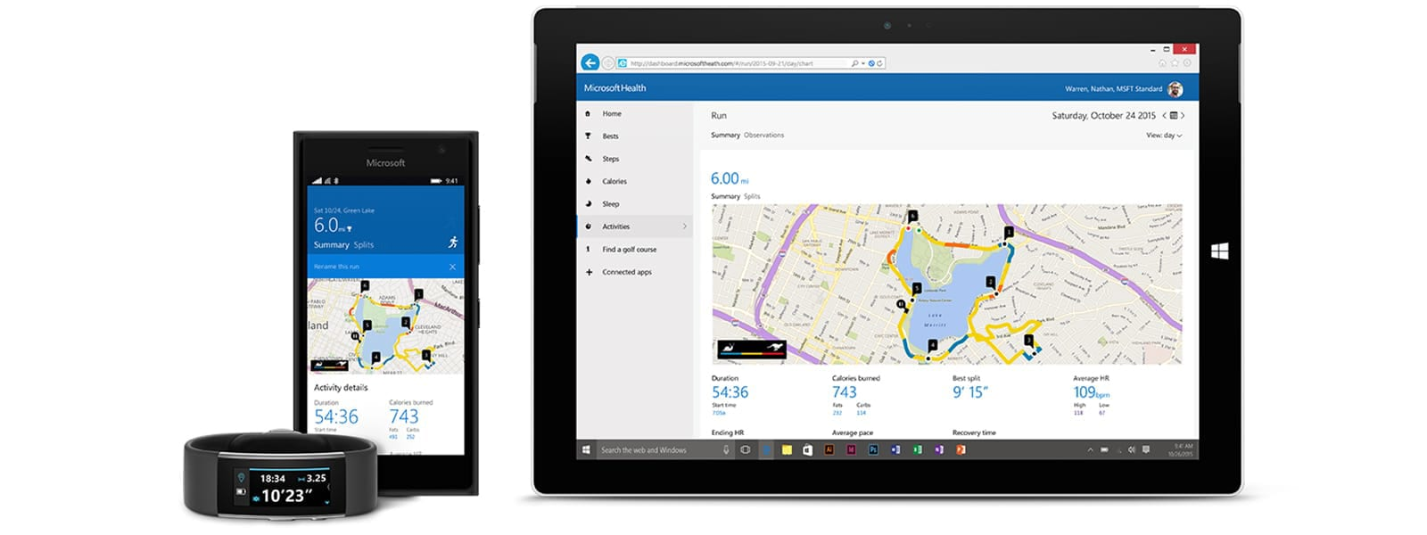 a microsoft band a smartphone and a tablet showing the microsoft health app on their