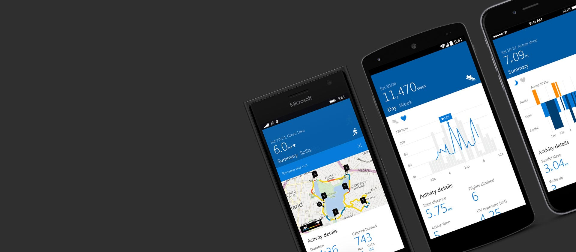 Microsoft Health app on a range of mobile phones