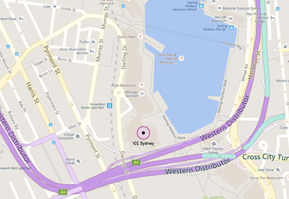Map of Sydney's Darling Harbour showing ICC Sydney location