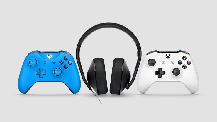 Twee Xbox One-controllers en een Xbox One-stereoheadset