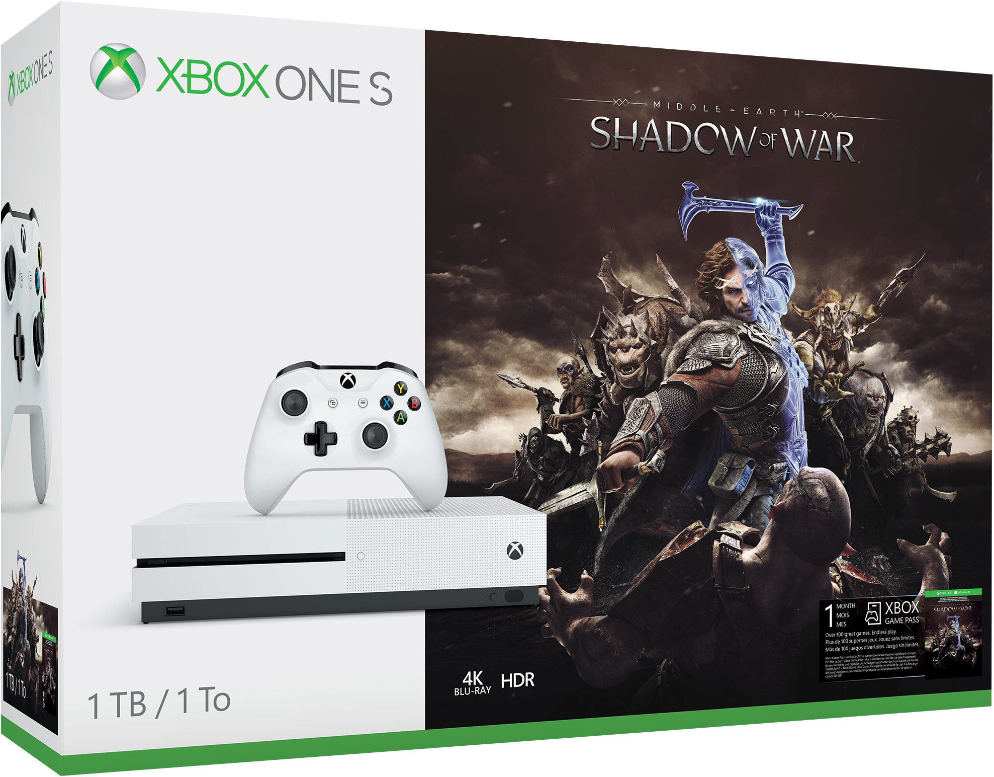 Xbox One S 1TB Console - Shadow of War Bundle Deal