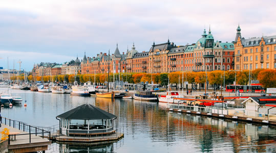 Image of Stockholm row homes along canal