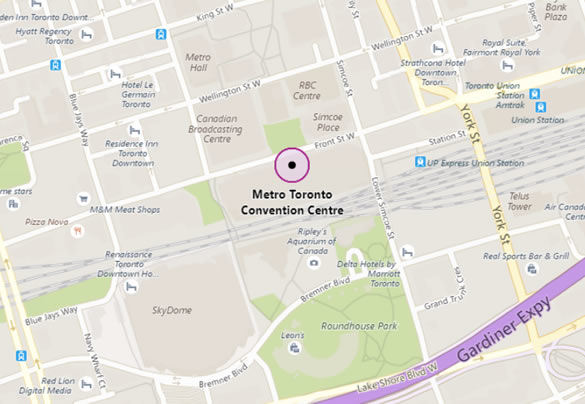 Map of Toronto, Canada showing location of Toronto Convention Center