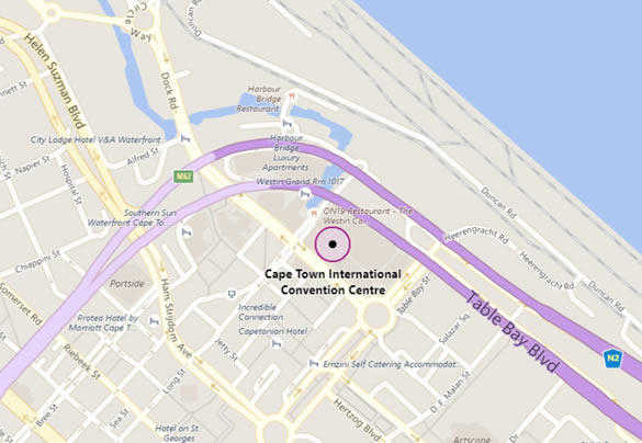 Map of Cape Town South Africa showing the location of the international convention centre
