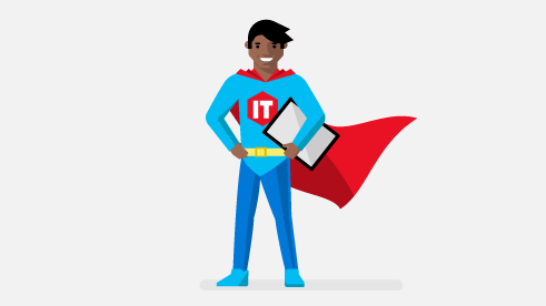 Conceptual image of IT Pro superhero.