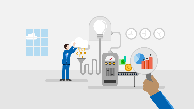 Illustration of a person pouring data into a machine and that machine producing different solutions.